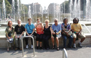 Our friends near fountain of Castello Sforzesco, Milan