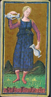 XIV Temperance from Visconti Tarot, 1450